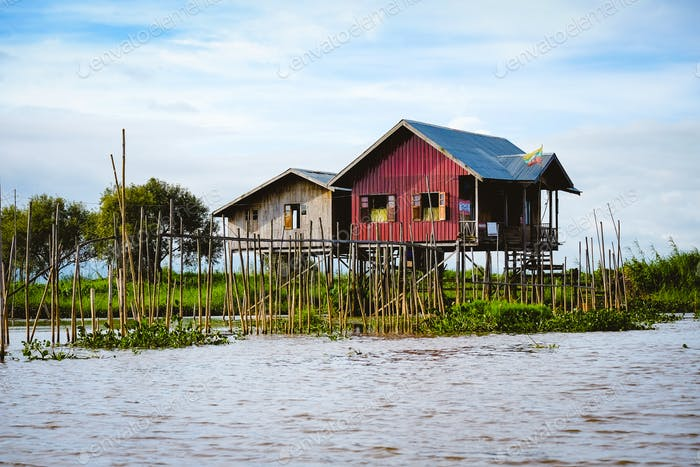 Landscape view of traditional wooden houses on Inle lake, Myanmar