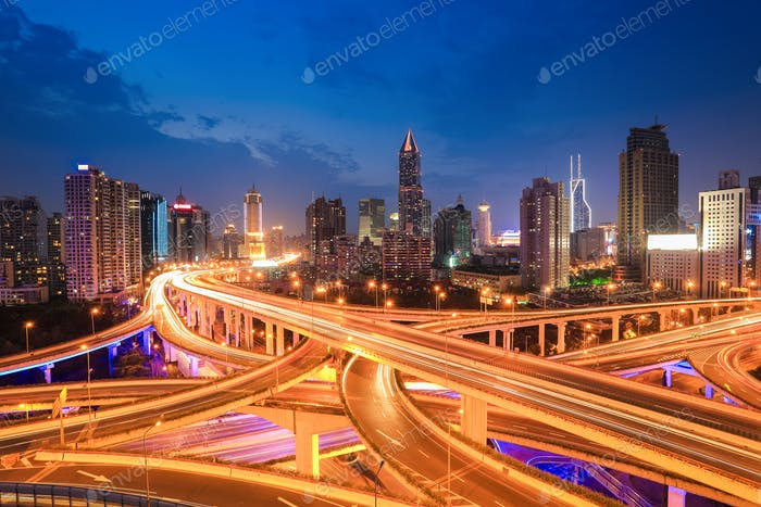 shanghai highway traffic in nightfall