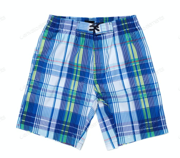 Sinii and white plaid men's beach shorts.