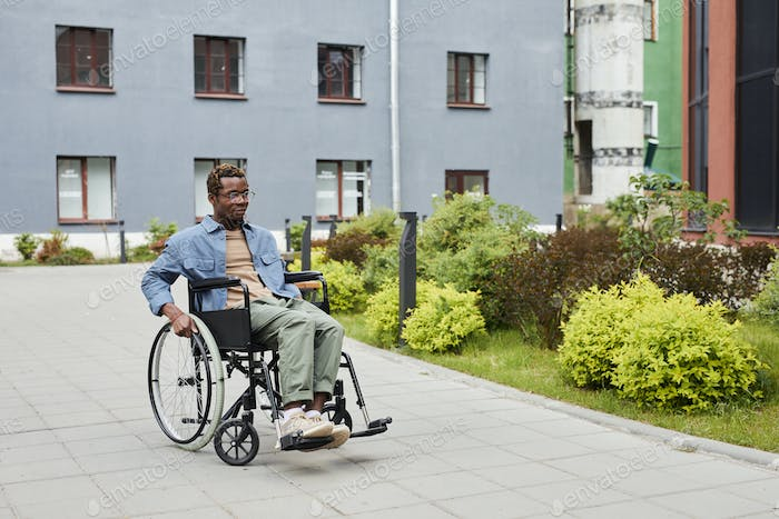 Handicapped man outdoors