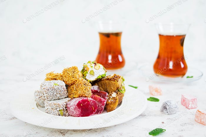 Turkish delights lokum on white background