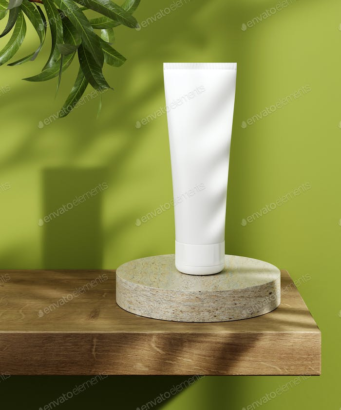 Pedestal for natural cosmetic product presentation. Stone and wood cylinders with plant leaves