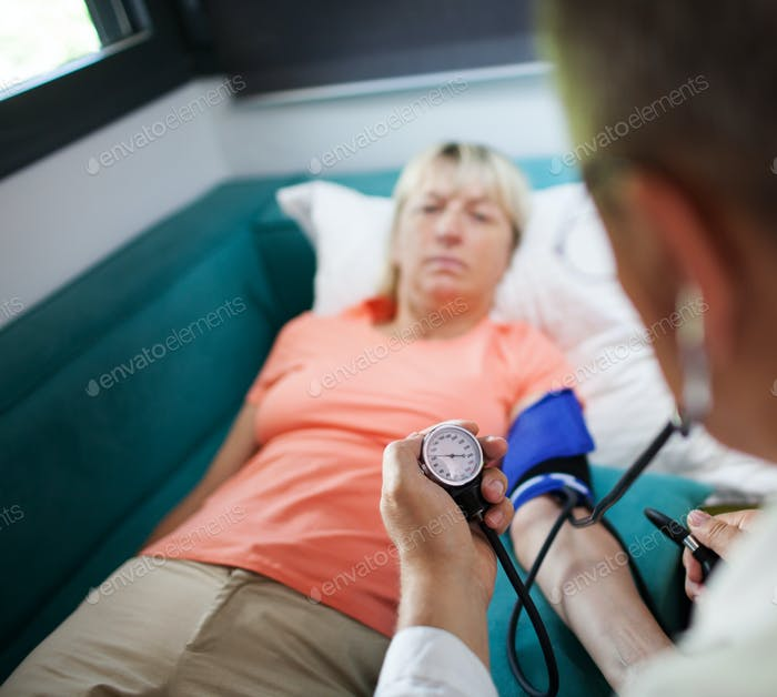 Checking the blood pressure