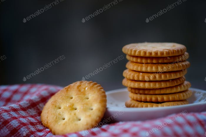Close-up view of salted cracker