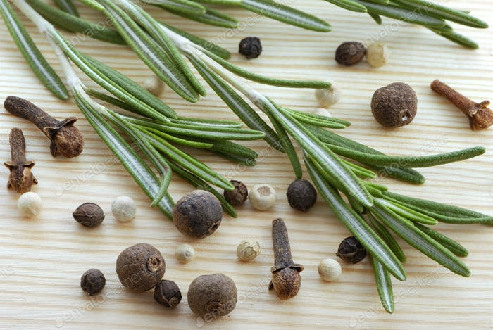 Rosemary, peppercorn and cloves