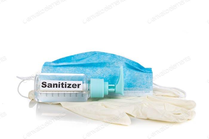 Desinfektionsmittel, Gesichtsmaske und Handschuhe sind unverzichtbar für den persönlichen Schutz im neuen normalen Lebensstil