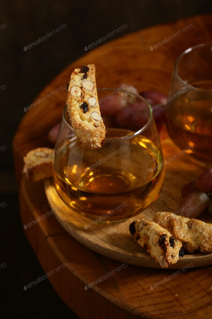 Dessert White Wine and Biscotti