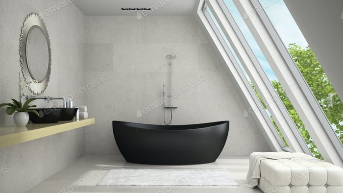 Interior of mansard badroom with round mirror 3D rendering 2