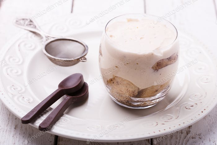 Tiramisu, traditional Italian dessert in a glass