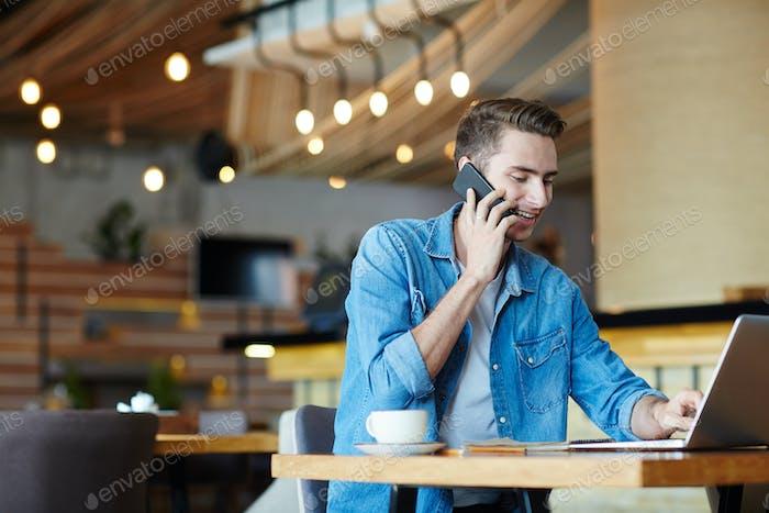 Freelancer in cafe