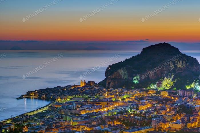 Cefalu in Sicily before sunrise