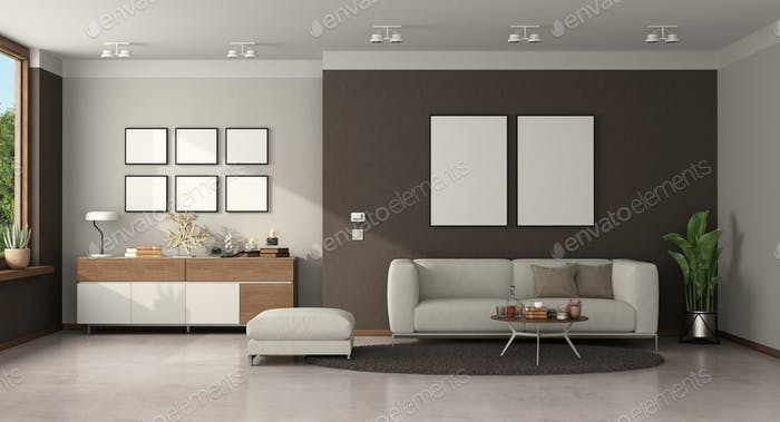 Minimalist living room with modern sofa and sideboard