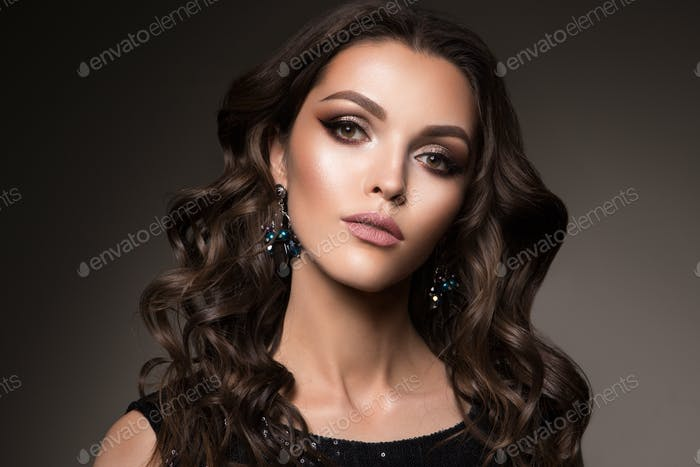 Beautiful young brunette with make-up