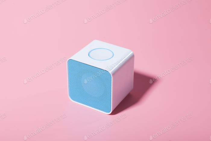 blue music dynamic on pink background