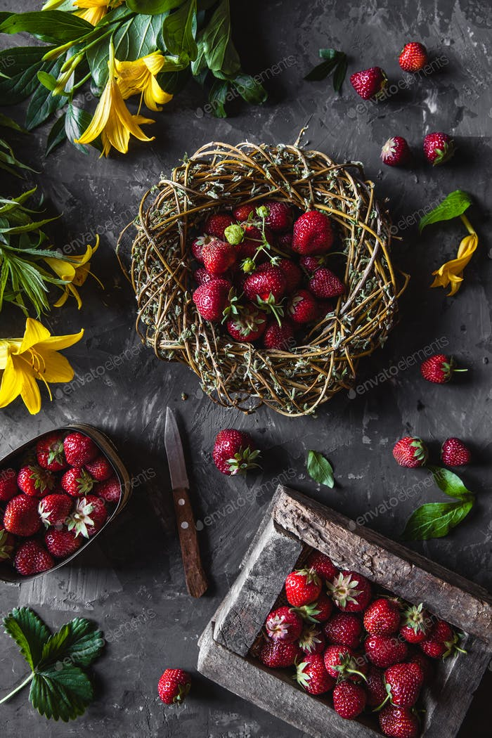 Delicious strawberries with yellow flowers on a dark gray background in a vintage wreath. Healthy