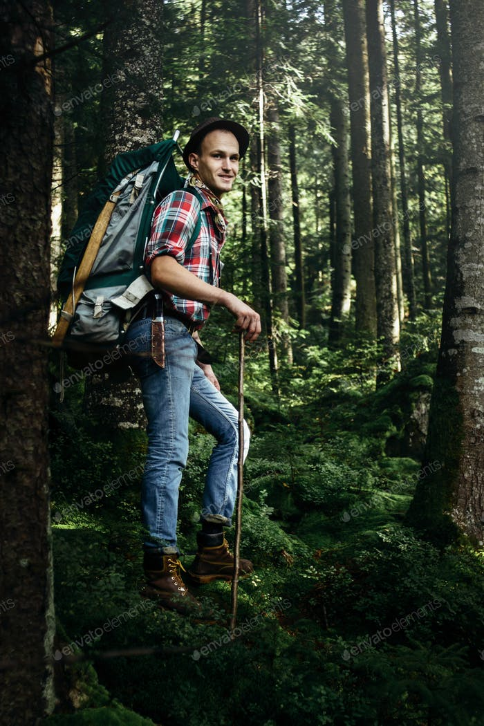 stylish hipster traveler walking in sunny forest in the mountains
