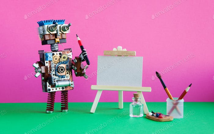 Robot artist with brush paints palette, wooden easel and blank white paper.