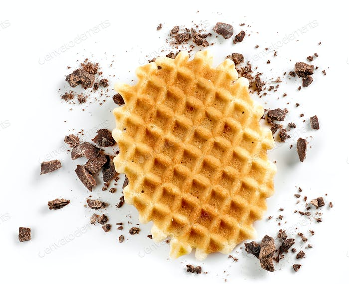 round waffle and small chocolate crumbs