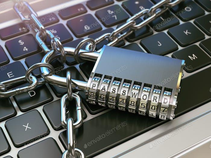 Passwort. Computersicherheit oder Sicherheitskonzept. Laptop-Tastatur w