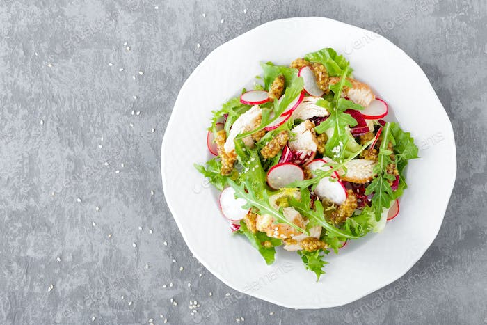 Thumbnail for Light spring vegetable salad with radish, lettuce, arugula and chicken meat