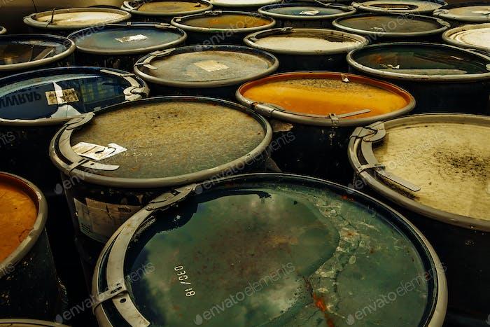 Old rusting metal drums