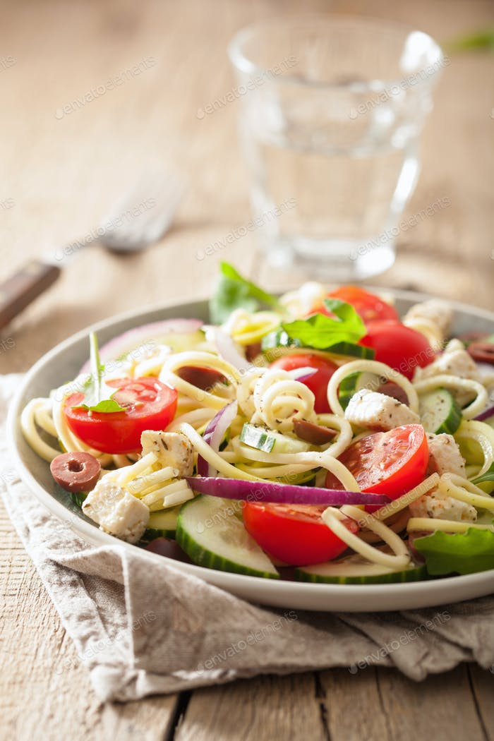 spiralized courgette salad greek style with tomato feta olives c