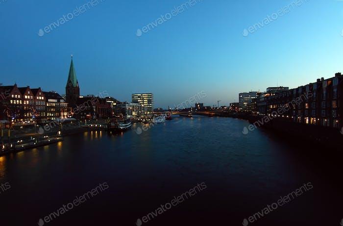 Bremen city at night