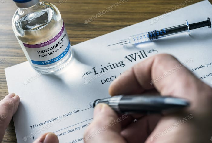 Living will declaration form Next to a vial of pentobarbital sodium