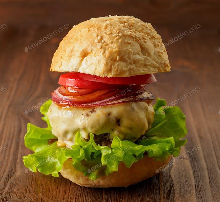 Big delicious homemade burger