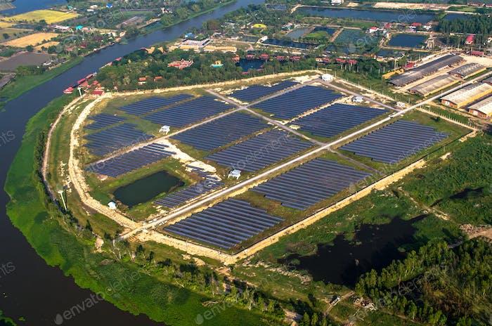Solar panels solar farm photography from the air
