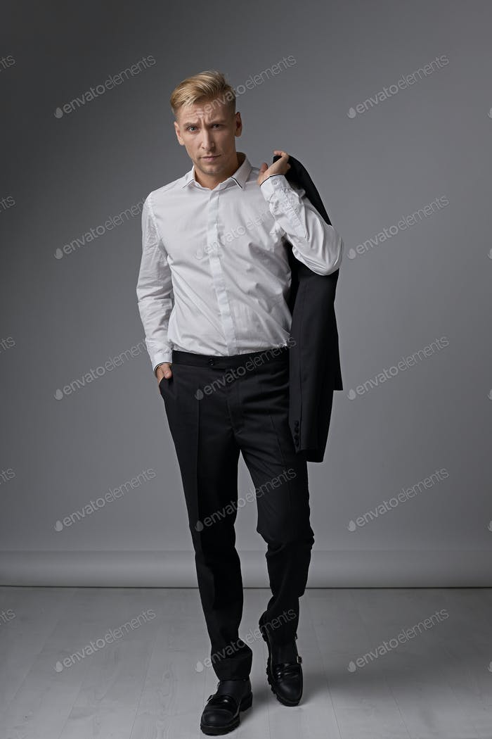 Casual businessman portrait demonstrating facial expression