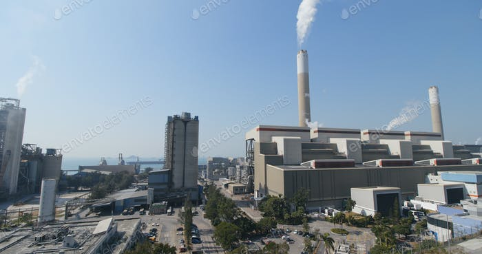 Smoke from chimney in factory