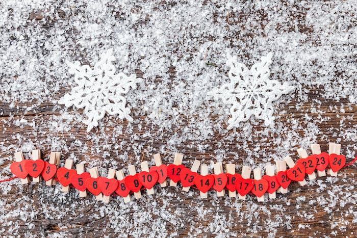 Christmas advent calendar with snow