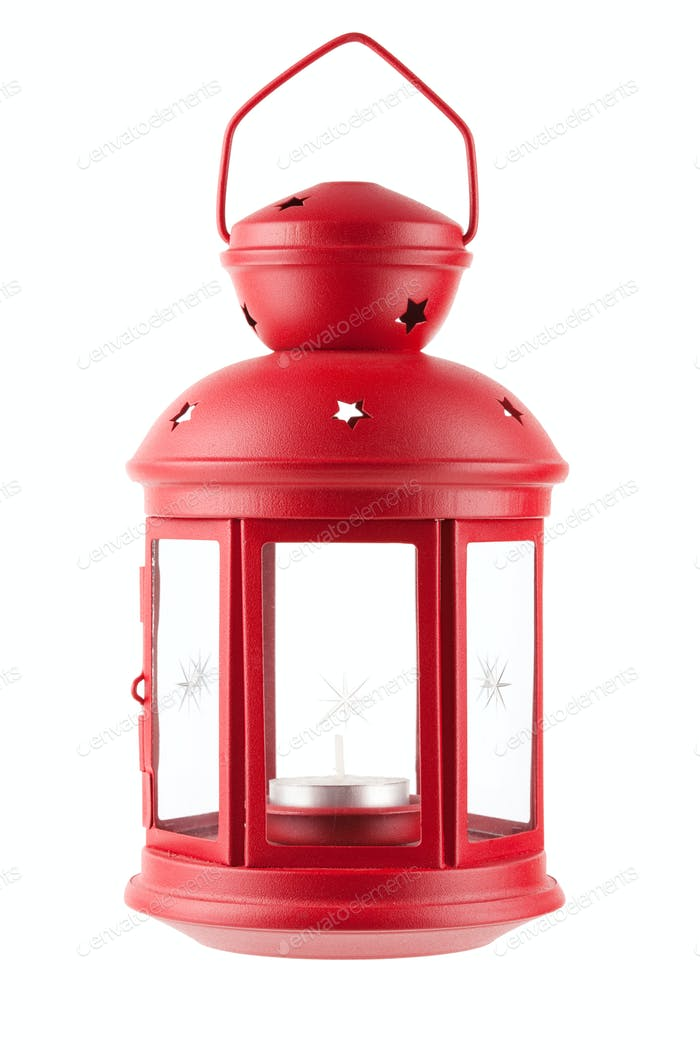 Red metal lamp with candle