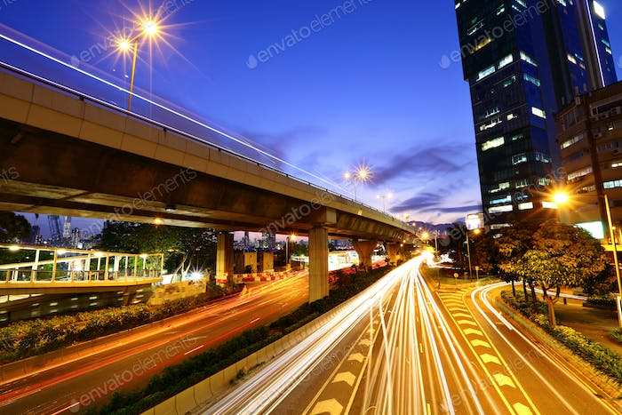 Highway in city at night