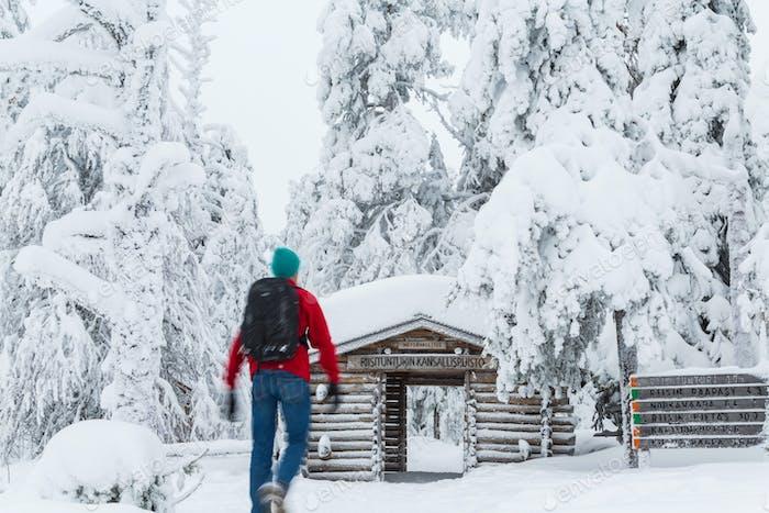 Entrance to Riisitunturi National Park, winter, Lapland, Finland