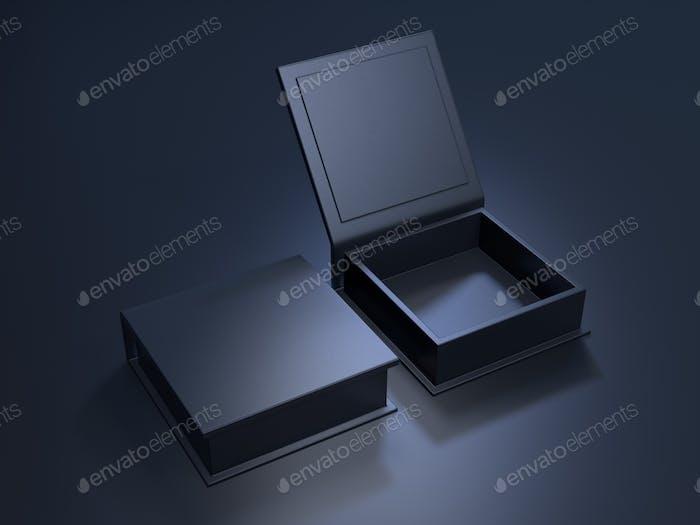 Black blank cardboard box on a dark background. 3d rendering