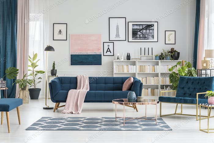 Pastel living room with gallery