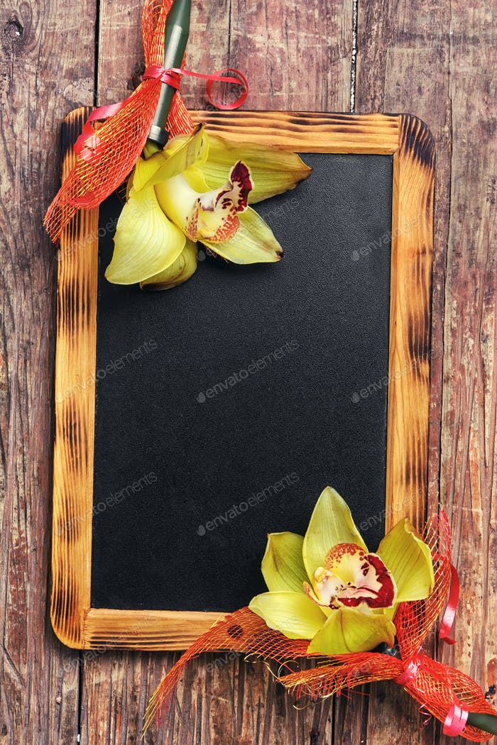 blackboard and flower