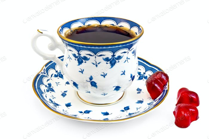 Coffee in the blue cup with jelly