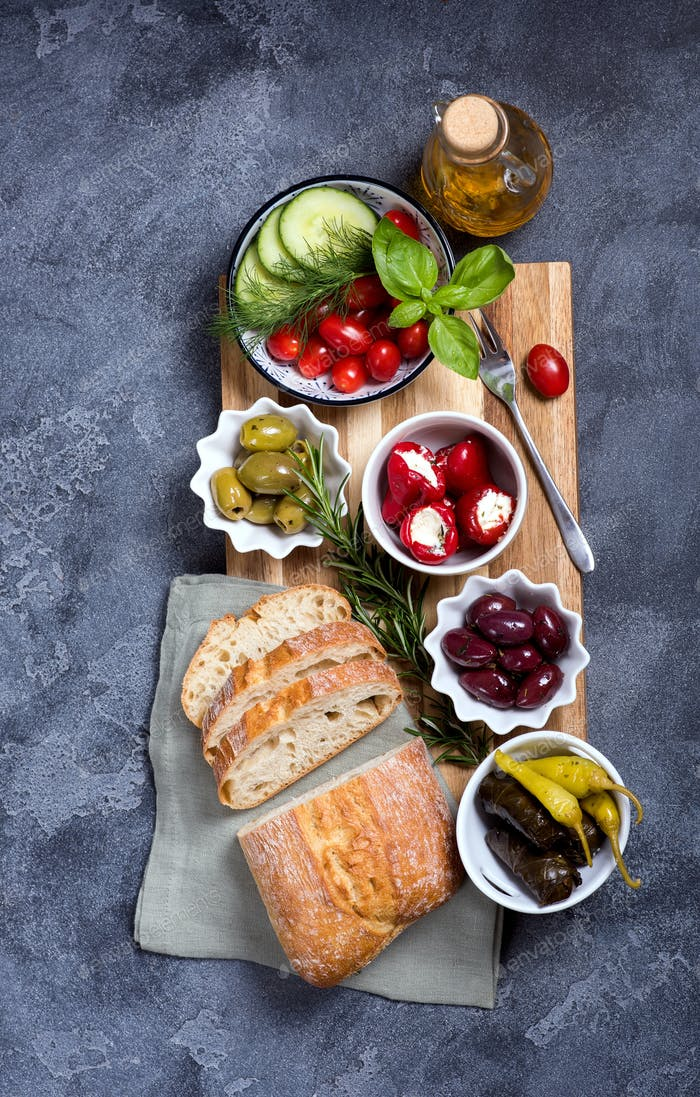 Mediterranean Snack with Antipasti and Ciabatta