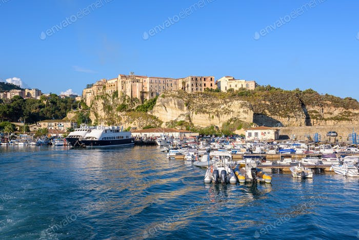 View of port in Tropea town