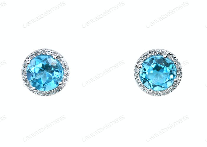 turquoise aquamarine Blue topaz Gemstone and diamond earrings