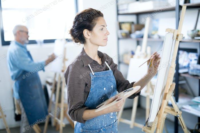 Painting in workroom