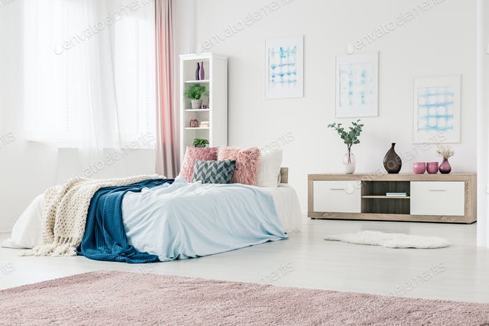 Blue And Pink Bedroom Interior
