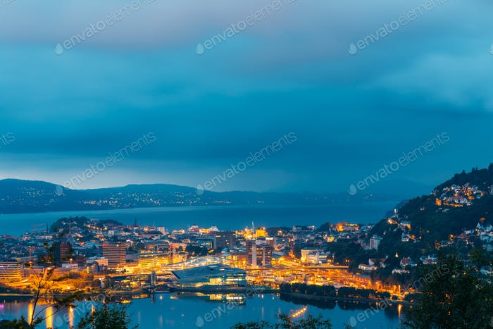 View Cityscape of Bergen and harbor from mountain top, Norway