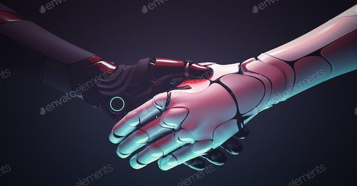 Robots handshake. Robotic hands gesture
