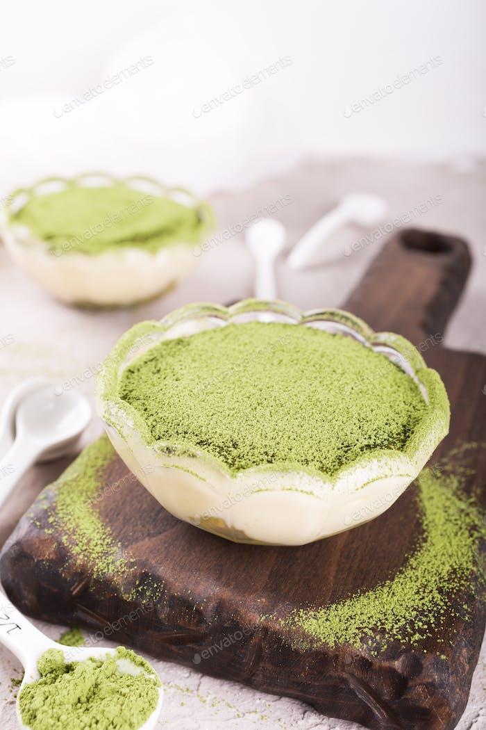 Tiramisu cake with green matcha tea