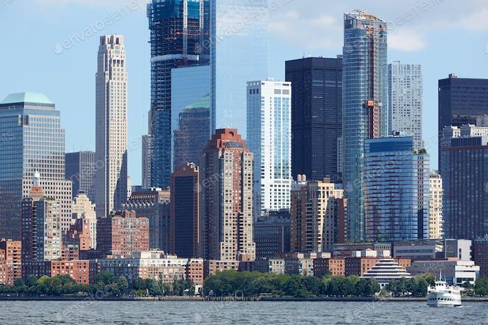 New York City, Manhattan skyline view from Hudson river