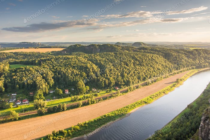 River Elbe in the Elbe Sandstone Mountains